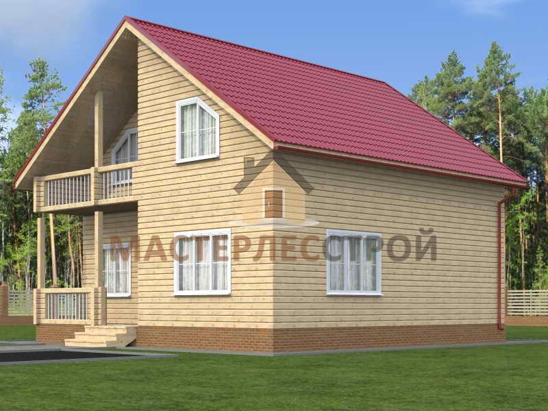 Проект дачного дома из бруса 9х9 с балконом - планировка мос.